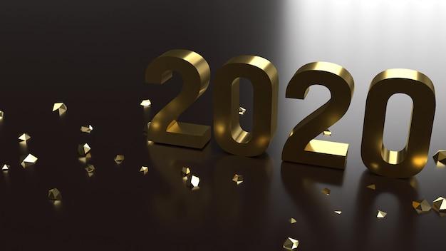 Número de ouro 2020 de renderização 3d para o ano novo