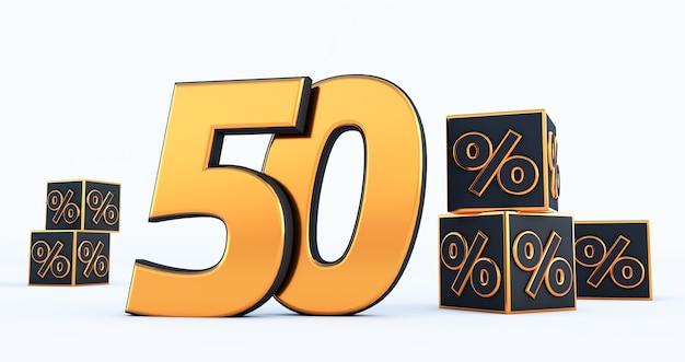 Número de ouro cinquenta 50 por cento com porcentagens de cubos pretos isoladas no fundo branco. renderização 3d