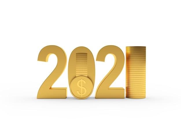 Número de ouro e pilhas de moedas de dólar