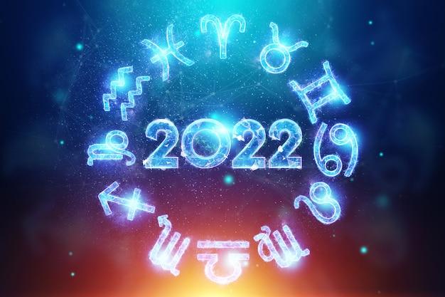 Número do holograma azul 2022 no fundo dos signos do zodíaco. feliz ano novo. design moderno, modelo, cabeçalho para o site, cartaz, cartão de ano novo, folheto. ilustração 3d, renderização em 3d.