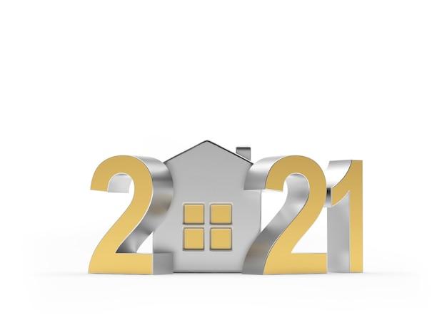 Número dourado 2021 com ícone de casa prateada