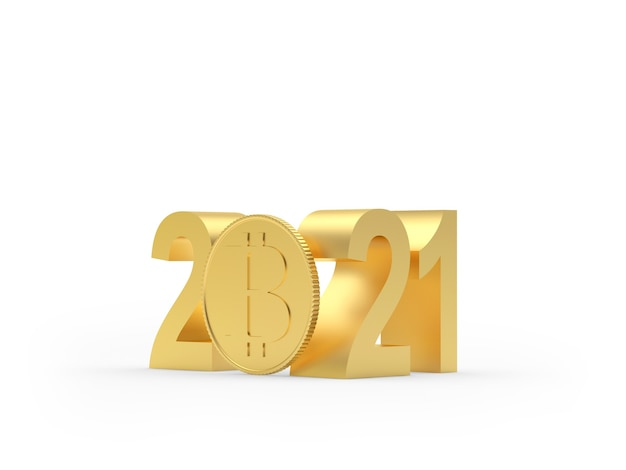Número dourado 2021 com moeda bitcoin
