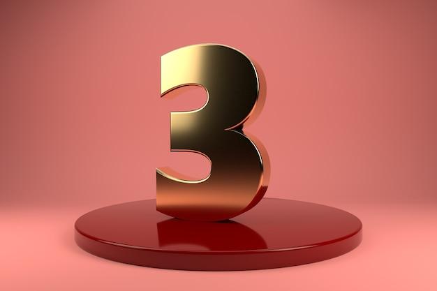 Número dourado 3 em posição