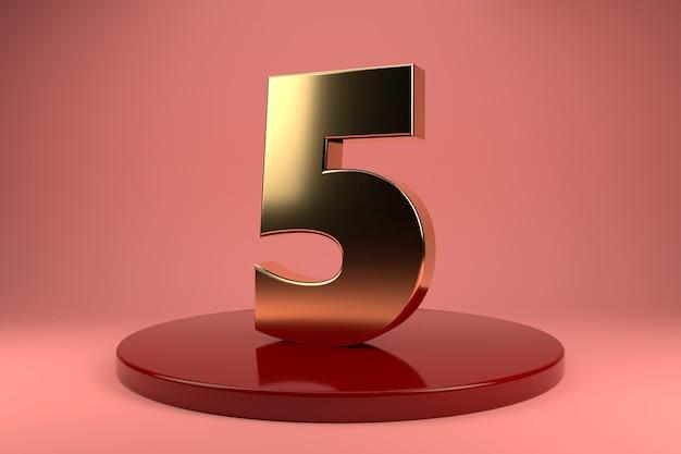 Número dourado 5 no suporte
