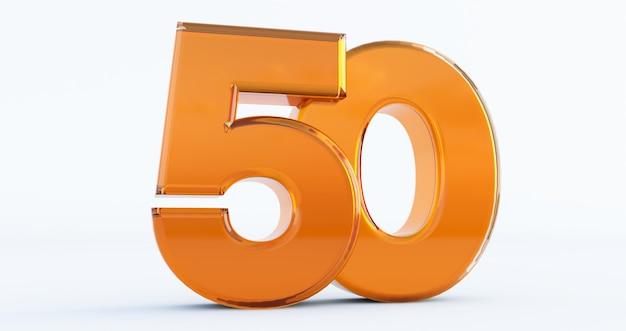 Número dourado 50 isolado no fundo branco, renderização 3d do número setenta