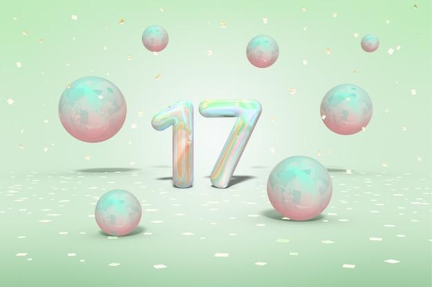 Número holográfico 17 com voando brilhantes bolas de néon e confetes de ouro