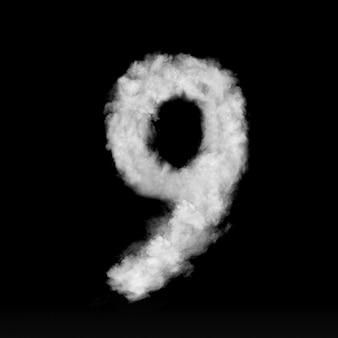 Número nove feito de nuvens brancas ou fumaça em uma parede preta com espaço de cópia, não render.