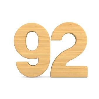 Número noventa e dois em fundo branco. ilustração 3d isolada