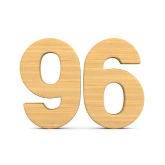 Número noventa e seis em fundo branco. ilustração 3d isolada