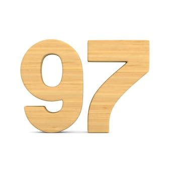 Número noventa e sete em fundo branco. ilustração 3d isolada