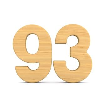 Número noventa e três em fundo branco. ilustração 3d isolada