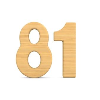 Número oitenta e um em fundo branco.