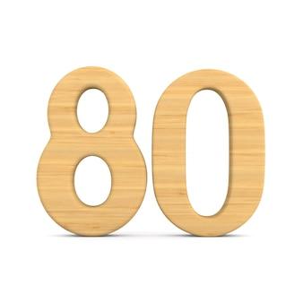Número oitenta em fundo branco.