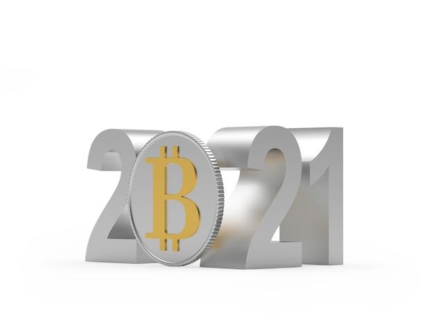 Número prateado 2021 com sinal bitcoin