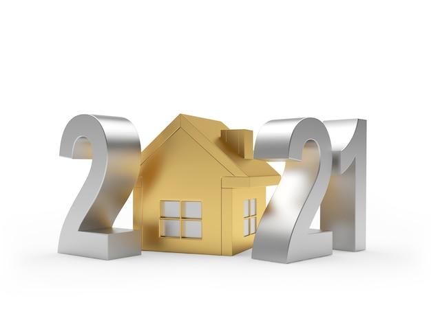 Número prateado 2021 e ícone da casa dourada