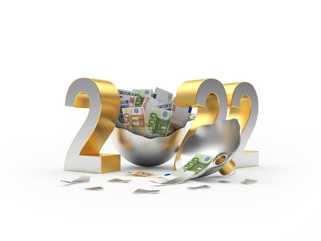 Número prateado do ano novo com notas de euro em uma bola de natal quebrada