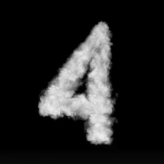 Número quatro feito de nuvens brancas ou fumaça em uma parede preta com espaço de cópia, não render.