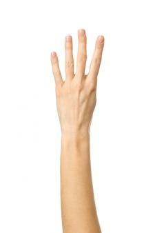 Numero quatro. mão de mulher gesticulando isolado no branco