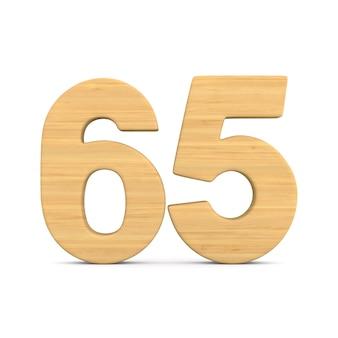 Número sessenta e cinco em fundo branco.