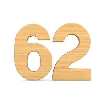 Número sessenta e dois em fundo branco.