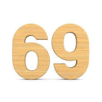 Número sessenta e nove em fundo branco.