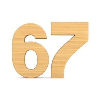 Número sessenta e sete em fundo branco.