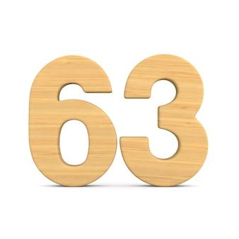 Número sessenta e três em fundo branco.