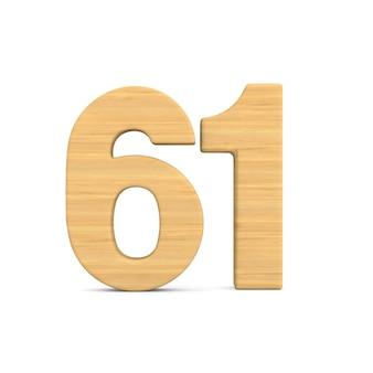 Número sessenta e um em fundo branco.