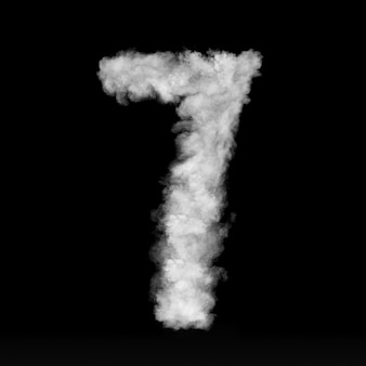 Número sete feito de nuvens brancas ou fumaça em uma parede preta com espaço de cópia, não render.