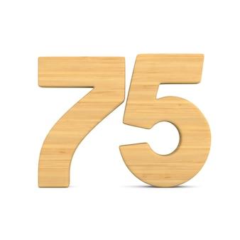 Número setenta e cinco em fundo branco.