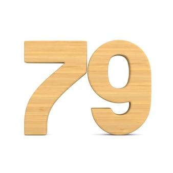 Número setenta e nove em fundo branco.