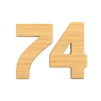 Número setenta e quatro em fundo branco.