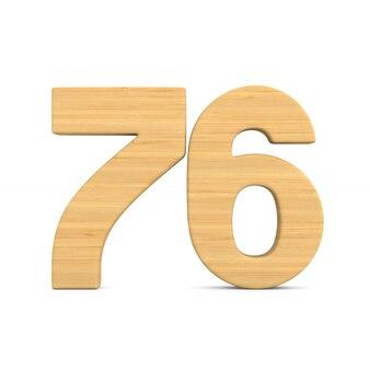 Número setenta e seis em fundo branco.
