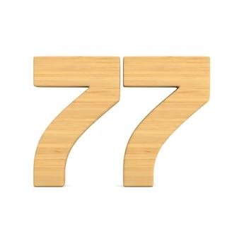 Número setenta e sete em fundo branco.