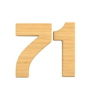Número setenta e um em fundo branco.