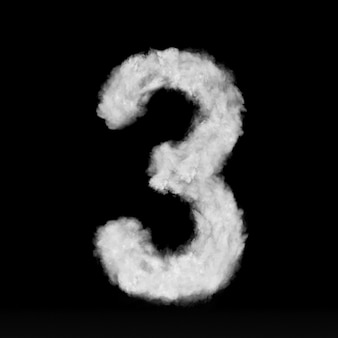 Número três feito de nuvens brancas ou fumaça em uma parede preta com espaço de cópia, não render.