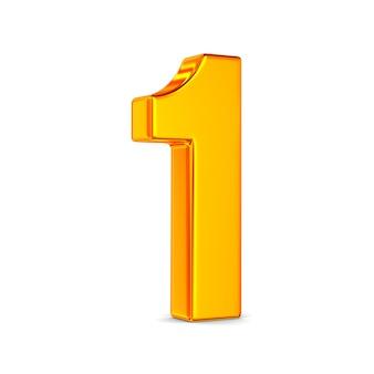 Número um em espaço em branco