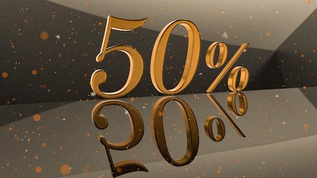 Número volumétrico dourado 50 por cento na superfície do espelho com fundo de partícula redonda ilustração 3d