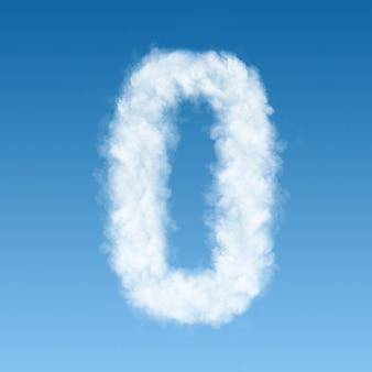 Número zero feito de nuvens brancas no céu azul