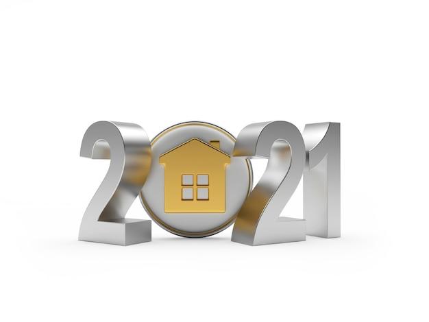 Números de 2021 e ícone de casa
