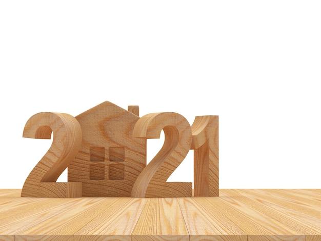 Números de madeira 2021 e ícone de casa