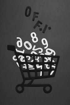 Números de papel no carrinho de compras