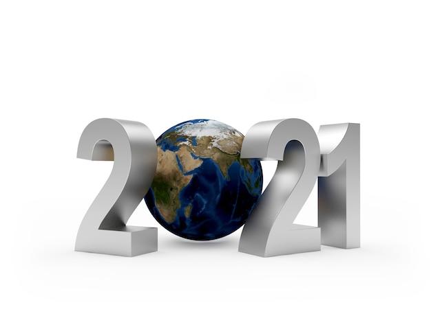 Números de prata 2021 com globo terrestre