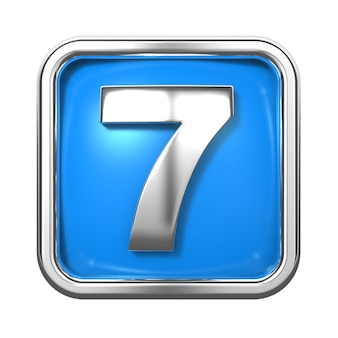 Números de prata no quadro, sobre fundo azul. numero 7
