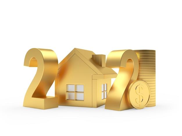 Números dourados 2021 com ícone de casa e moedas de dólar