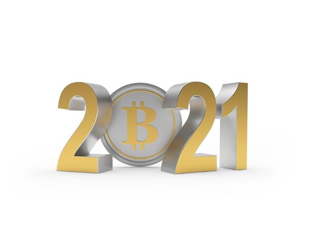 Números dourados 2021 com moeda bitcoin