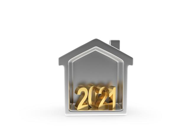 Números em ícone de casa de prata