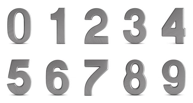 Números isolados na ilustração branco.3d Foto Premium
