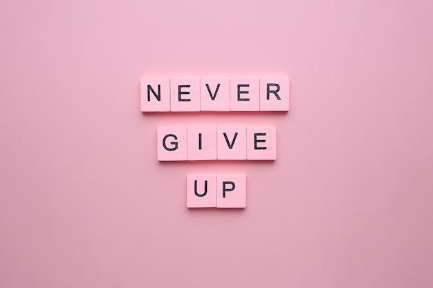 Nunca desista. pôster motivacional