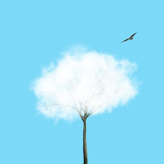 Nuvem branca como a coroa da árvore e pássaro voando sobre um fundo azul. lugar para texto. fundo de ecologia para o crescimento e proteção do meio ambiente.